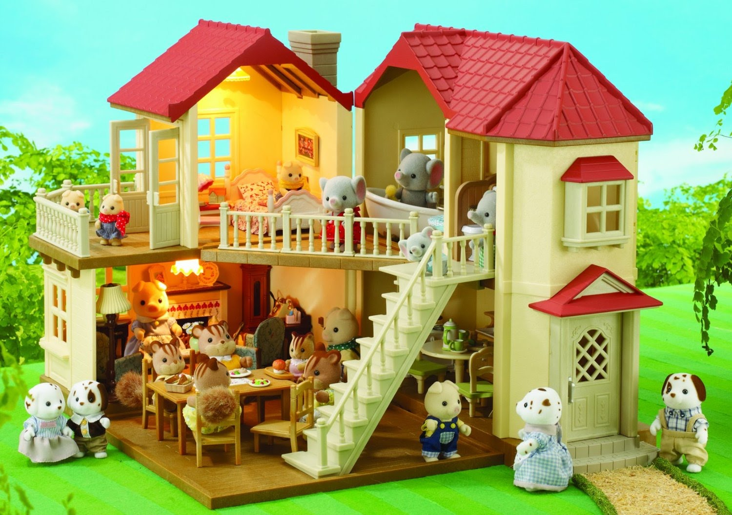 Calico Critters Deluxe Bathroom Set Bilingual by Calico