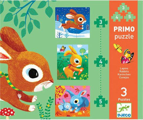 Interlocking 3, 4 and 5 Piece Bunny Puzzle for Ages 2-3